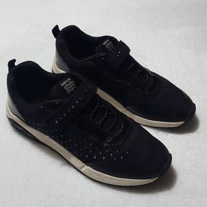 Geox girls' black suede studded sneakers